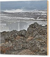 Area By Godafoss Waterfalls, Iceland Wood Print
