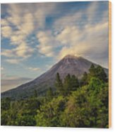Arenal At The Sun's Last Touch Wood Print