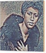 Aretha Franklin Abstract Art Wood Print