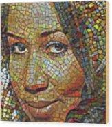 Aretha Franklin Tribute Mosaic Portrait 2 Wood Print