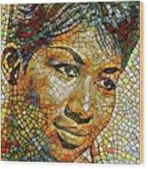 Aretha Franklin Tribute Mosaic Portrait 3 Wood Print