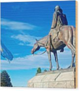 Argentinian Flag And Julio Roca-1843 To 1914-sculpture In Central Park In Bariloche-argentina  Wood Print