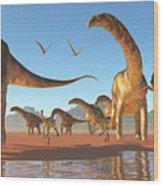 Argentinosaurus Herd Wood Print