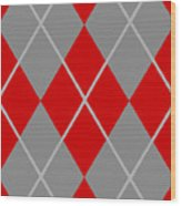 Argyle Diamond With Crisscross Lines In Paris Gray N02-p0126 Wood Print