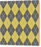 Argyle Diamond With Crisscross Lines In Pewter Gray N05-p0126 Wood Print