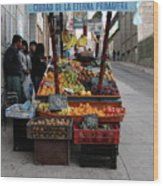 Arica Chile Fruit Stand Wood Print