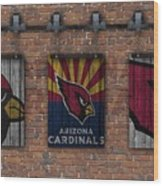 Arizona Cardinals Brick Wall Wood Print