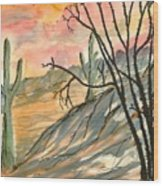 Arizona Evening Southwestern Landscape Painting Poster Print  Wood Print