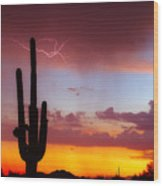 Arizona Lightning Sunset Wood Print