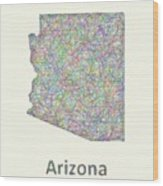 Arizona Line Art Map Wood Print