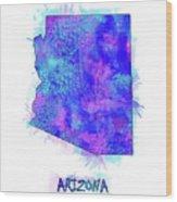 Arizona Map Watercolor 2 Wood Print