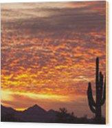 Arizona November Sunrise With Saguaro   Wood Print