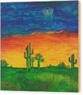 Arizona Rain Wood Print