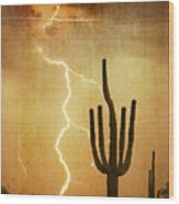Arizona Saguaro Lightning Strike Poster Print Wood Print