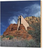 Arizona, Sedona  Chapel Of The Holy Cross Wood Print