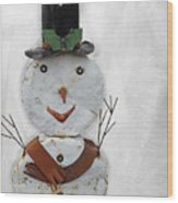 Arizona Snowman Wood Print