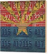 Arizona State Flag Vintage License Plate Art Wood Print