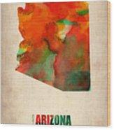 Arizona Watercolor Map Wood Print