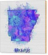 Arkansas Map Watercolor 2 Wood Print