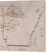 Arkansas State Usa 3d Render Topographic Map Neutral Border Wood Print