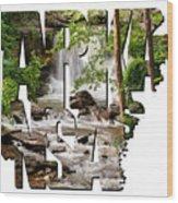 Arkansas Typography - Lake Ann Waterfall - Bella Vista Arkansas Wood Print
