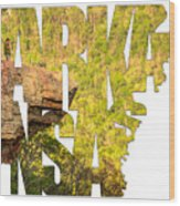 Arkansas Typography - Perspective - Whitaker Point Hawksbill Crag Wood Print