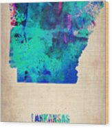 Arkansas Watercolor Map Wood Print by Naxart Studio