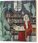 Arleas And The Wizard - Green Wood Print