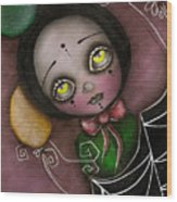 Arlequin Clown Girl Wood Print