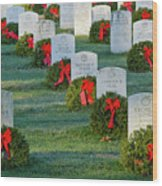 Arlington National Cemetery At Christmas Wood Print