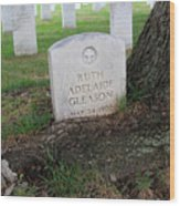 Arlington Tombstone Lodged In Tree Trunk Wood Print