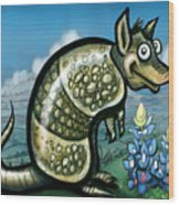 Armadillo N Bluebonnets Wood Print