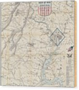 Army Map Of Seat Of War In Virginia 1862 Wood Print