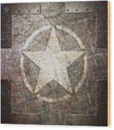 Army Star On Steel Wood Print