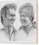 Arnold Palmer-jack Nicklaus Wood Print by Murphy Elliott