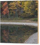 Around The Bend- Hiking Walden Pond In Autumn Wood Print