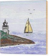 Around The Bend Sailboat Wood Print