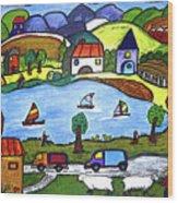 Around The Lake Wood Print