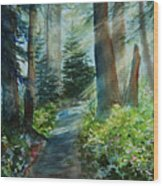 Around The Path Wood Print by Kerri Ligatich