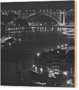 Arrabida Bridge By Night Wood Print