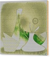 Arrangement In Green And Yellow Wood Print