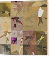 Arraygraphy - Birdies Sepia, Part 1 Wood Print