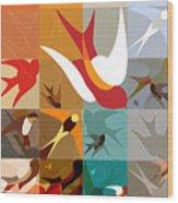Arraygraphy - Birdies Triptych Part2 Wood Print