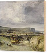 Arrival Of A Stagecoach At Treport Wood Print