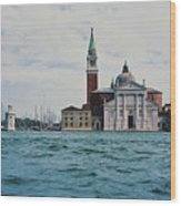 Arriving In Venice Wood Print