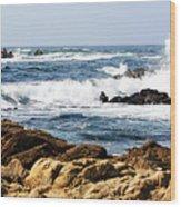Arriving Tide At Pebble Beach Wood Print