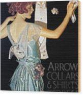 Arrow Shirt Collar Ad, 1923 Wood Print