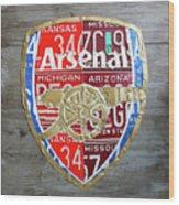 Arsenal Football Team Emblem Recycled Vintage Colorful License Plate Art Wood Print
