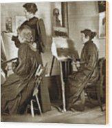 Art Class Oil Painting Teacher  And Art Students 1900 Wood Print