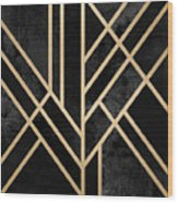 Art Deco Black Wood Print